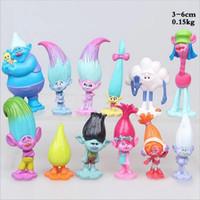 12pcs / Set Trolls Trolls Ugly Princess Action Figure BlancPie Cakes Décorations Poupées Jouets Enfants Cadeaux Brinquedo Noël Collection cadeau de Noël