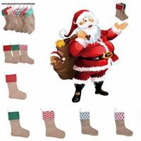 12 * 18 بوصة عالية الجودة أكياس قماش هدية عيد تخزين القماش عيد الميلاد الجورب كبيرة الحجم عادي الخيش الديكور الجوارب حقيبة mk861