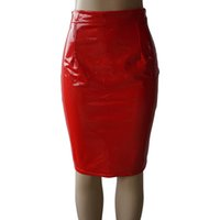Plus Size Women Clothing Winter Autumn PU Leather Skirt High...