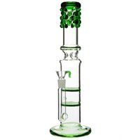 "Vetro bongs acqua pettini ""Bling Betty"" doppie bongs alveolari percolatore spruzzata guardia tubo verde 13"""