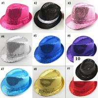Chapeau de jazz de paillettes de bébé New Sequins Adulte Fedora Hat Chapeau de spectacle de Fedoras Magic 10 couleurs livraison gratuite