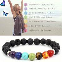 Браслеты йоги черные натуральные лавы 7 чакра заживление 8 мм бусины браслет для мужчин женщины молитвенные камни ювелирные изделия GGA1217