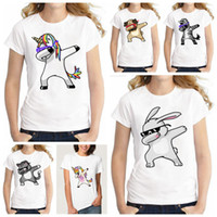 Dabbing Unicorn Women T Shirt O- Neck Tops Cartoon Short Slee...