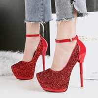 Sexy 2018 sequined ultra high heels wedding shoes red bottom...