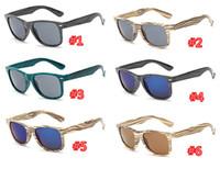 10pcs 6 colori Occhiali da sole in legno Uomini donne di bambù Specchio del progettista di marca Occhiali da sole 2018 Legno originale fatto a mano Oculos de sol masculino