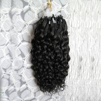 7a Extensiones brasileñas de cabello humano Micro Loop 100G Pelo rizado virgen chino Extensiones de cabello Micro Loop negro Rizado profundo