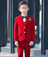 Ausgezeichnete Mode Samt Kinder Formelle Kleidung Anzug Kinder Kleidung Hochzeit Blazer Jungen Geburtstag Party Anzug (jacke + pants + weste) J898