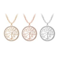 3 Colors Tree of Life Rhinestone Pendants Necklaces Designer...