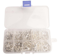60SETS/BOX Antiqued Silver Metal Toggle Clasps W/Container Flower Lock Circle Style
