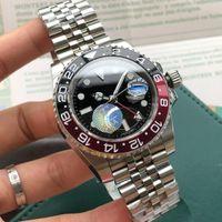 rolex master 2018 Basel World Nuovo 126710 126710BLRO Rosso e blu bicolore GMT Cerachrom Pottery 24 ore scala parola uomini orologio automatico Dive Watch