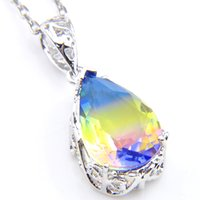 10Pcs Luckyshine Water Drop Gradient BI- COLORED Tourmaline C...