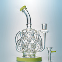 Super Cyclone Glass Recycler Dab Rig Purple Bong con 12 Recycler Tube Water Pipes Vortex Recycler Glass Water Bongs 14mm Conjuntos de aceite