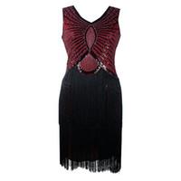 V-cuello negro largo sin mangas de la borla de 1920 Tamaño gran danza Gabsty vestido latino de la aleta de chicas de las lentejuelas de los vestidos de la franja de Pluse
