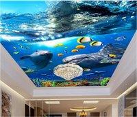 Personalizado techo 3d foto mural océano 3 d papel tapiz para paredes sala de estar dormitorio 3d Fondo de techo moderno fondo de pantalla