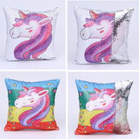 Unicorns Mermaid Sequins Sofa Pillow Case Cartoon Cushion Co...