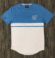 패션 여름 코튼 실크 siksilk의 T 셔츠 웨스트 T 셔츠 반팔 힙합 T 셔츠 셔츠 접합 T 셔츠
