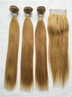 Brasilianisches Jungfrau-Haar 27 # gefärbtes blondes Menschenhaar 3 Bündel mit Spitze-Verschluss Billiges blondes gerades Haar spinnt mit 4x4 Spitzeschliessen