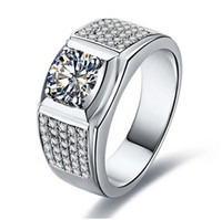 1CT Man Ring Excellent Round Synthetic Diamonds Ring for Men...