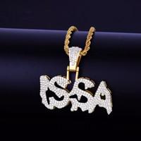 Gorący Sprzedawca Hip Hop Biżuteria Męska Issa Letters Wisiorek Naszyjnik Złoty Kolor Z Moda Lina Łańcucha Drop Shipping