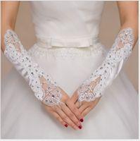 Le nouveau gant de mariage de la mariée, blanc long et joliment inséré brillants Diamond Satin Gloves, argent en gros automne et hiver