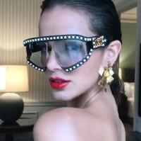 2018 새로운 진주 리벳 유럽 미국 브랜드 선글라스 여성 Sun Glasses Oversized Eyewear