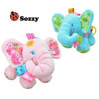 Sozzy bebé de dibujos animados Music Pull Rattles Elefante multifuncional niños Bell Ring Paper Car Bed Hanging cochecitos de peluche rosa azul