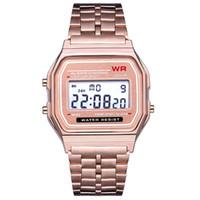 4 colori digitale LED orologio sportivo retrò cintura in acciaio inox ultra sottile oro rosa oro orologi da uomo
