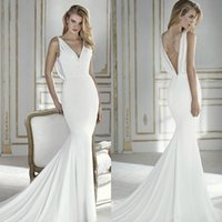 New Simple Satin Mermaid Wedding Dresses Sexy V- neck Backles...