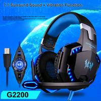 EACH G2200 Gaming Headphone 7.1 Surround USB Jogo de Vibração Headset Headband Headphone com Microfone LED Luz para PC Gamer