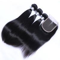 8A Dentelle Fermeture Avec 3 Bundles Brésilienne Vierge de Cheveux Humains Tisse Malaisie Indien Cambodgien Péruvienne Droite Remy Cheveux Humains Et Fermetures