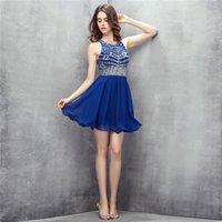 섹시한 로얄 블루 짧은 미니 칵테일 드레스 열기로 돌아 가기 수제 구슬 장식 칵테일 댄스 파티 드레스 Evenging 가운 DH308