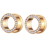Altın Flesh Tünel Cerrahi Çelik Vücut Takı Kulak Genişletici Ölçer Sedye Küpe Piercing Fiş Kadın Erkek için 70 adet