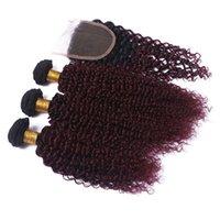 Pérou Ombre Vin rouge de cheveux humains Tissages Extension avec fermeture Kinky Curly 1B / 99J Bourgogne 4x4 Fermeture Ombre Dentelle avec 3 offres Bundle
