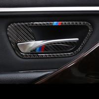 Kohlefaser Auto Innentürgriffabdeckung Trim Tür Schüssel Aufkleber Abziehbilder Streifen Für BMW 3 4 Serie 3GT F30 F31 F32 F34 Styling zubehör