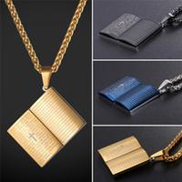Библия крест кулон ожерелье прочный нержавеющей стали 316L 18K реального золота покрытием Библии стих ювелирные изделия 3 цвета опционально