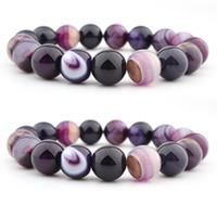 Natural Crystal Armbanden Bangle 14mm Paars Gestreepte Agaat Bal DIY Bead Armband Sieraden Dames Kimter-H541F Z