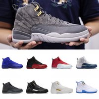 2018 Bordeaux Dark Wool 12 Basketball Shoes 12s Flu Game UNC...