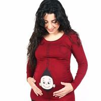 الأمومة مضحك الطفل تحميل القمصان الحوامل المرأة طويلة الأكمام تي شيرت الملابس قمم تيز الحمل ارتداء الملابس زائد الحجم