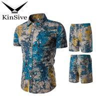Marka Yaz Eşofman Erkek Gömlek Ve Şort Setleri 2018 Yeni Moda Baskı Kısa Kollu T gömlek Plaj Şort Iki Parçalı Ter Suit