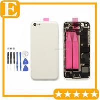 parçaları Tüm Konut Montaj Beyaz Yedek Parçaları 100Pcs / Lot ile iphone 5C Arka Pil Kapı Kapak Kılıf Orta orta Kare toptan