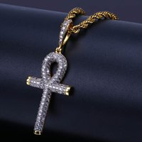 Hip Hop Egyptian Ankh Key Cross Pendant Necklace Iced Out Go...