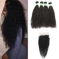 Malaisie Kinky Curly cheveux humains 4Bundles avec dentelle fermeture 8A Malaisie Virgin cheveux bouclés Bundles Kinky TRAMES Tissages cheveux avec fermeture 4x4