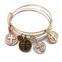 Kimter Adjustable Bracelet Punk Style Alloy Cross Pendant Wire Bracelets Wristlet Hand Accessories for Women Jewelry G918R F