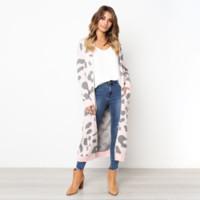 Leapord Print Pullover Frauen Strickjacke Herbst Winter Langarm Strick Outwear Beiläufige Lose Lange Pullover Jacke Streetwear