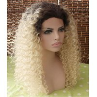 Fashion Ombre Blonde Afro Kinky Curly Synthetic Lace Front W...