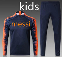MESSI 2018- 19 kids Soccer Sweater coat Suits INIESTA PIQUE U...