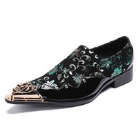 Plus Size 2018 Luxury Pointed Toe Slip on Man Studded Loafers British Style Patent Leather Wedding Party Men's Punk Shoes SL331