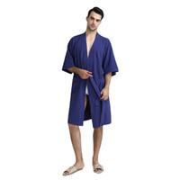 c9b4fa357d Men Kimono Bathrobe Summer Casual Home Wear Solid Color Robe Gown Nightgown Three  Quarter Sleeve Sleepwear With Belt M XL