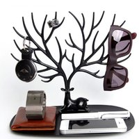 Creative Tree Forma de antirreta de antirreta Rack Deer King Pendiente Holder Energy Jewelry Almacenamiento Rack Collar Pendientes Pulseras Pantalla Soporte