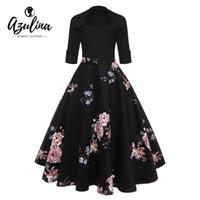 AZULINA Audrey Hepburn Vintage Party Kleid Frauen Floral Flare Midi Kleider Winter Herbst Retro Elegantes Kleid Vestidos Robe Femme